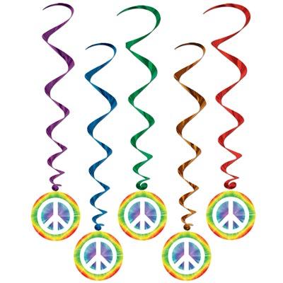 60er jahre hippie mottoparty deko spiralh nger peacezeichen 5 stk. Black Bedroom Furniture Sets. Home Design Ideas