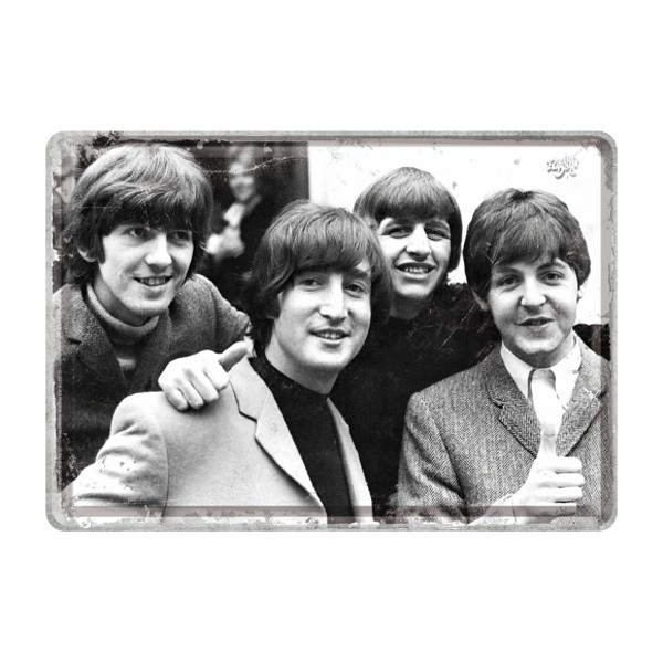 Blechpostkarte Beatles sw