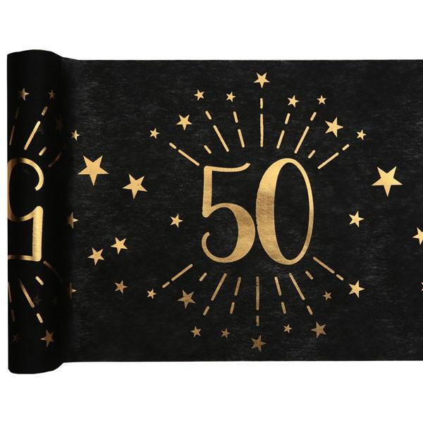 Tischläufer 50 Geburtstag schwarz gold