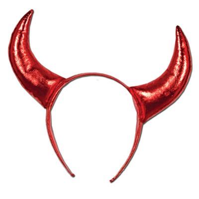 Haarreif Teufelshörner rot-metallic