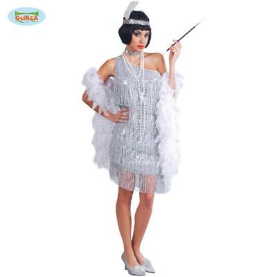 Charleston Flapper Fransen Kleid silber M-L