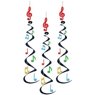 Partydeko Spiralhänger Musiknoten bunt