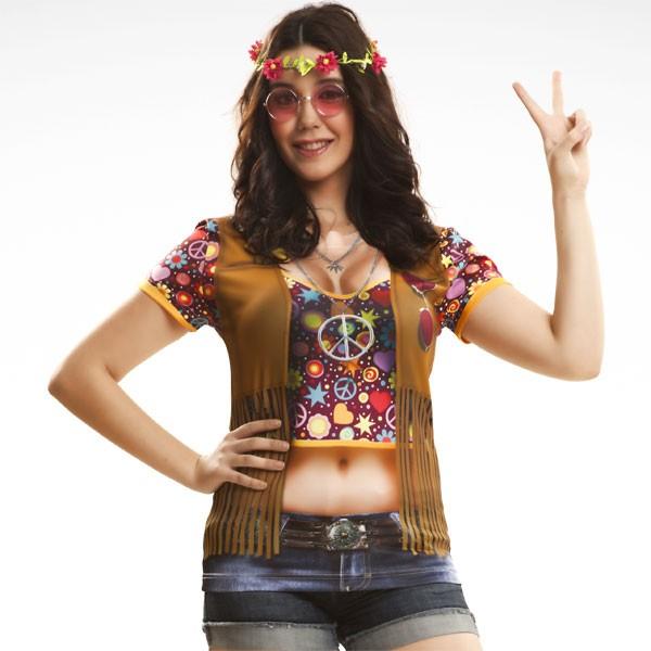 3D Fun-Shirt Hippie Girl S