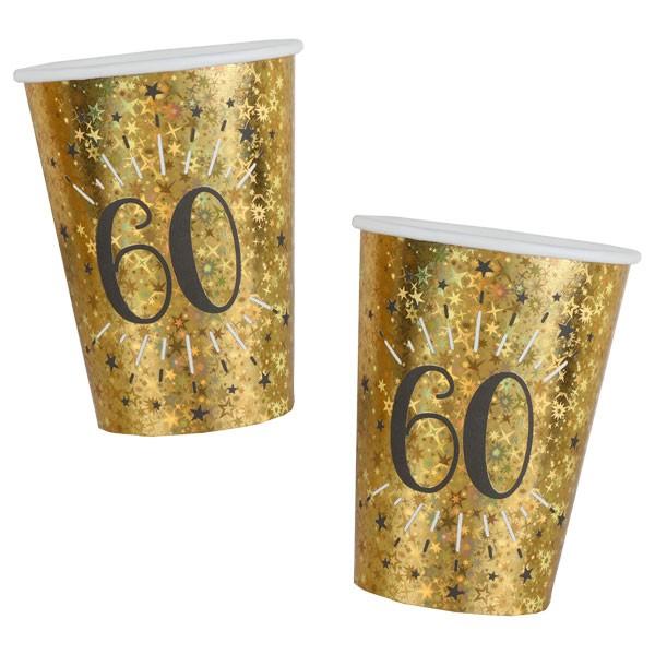 Pappbecher 60 Geburtstag gold schwarz