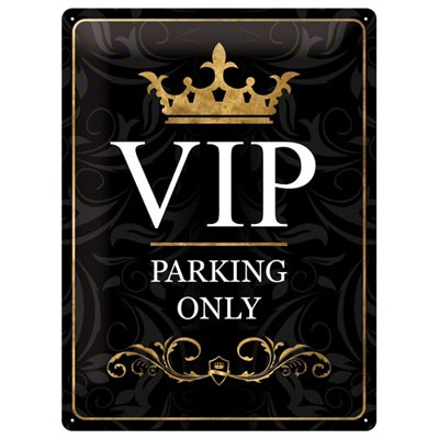 VIP Parking Only Blechschild schwarz