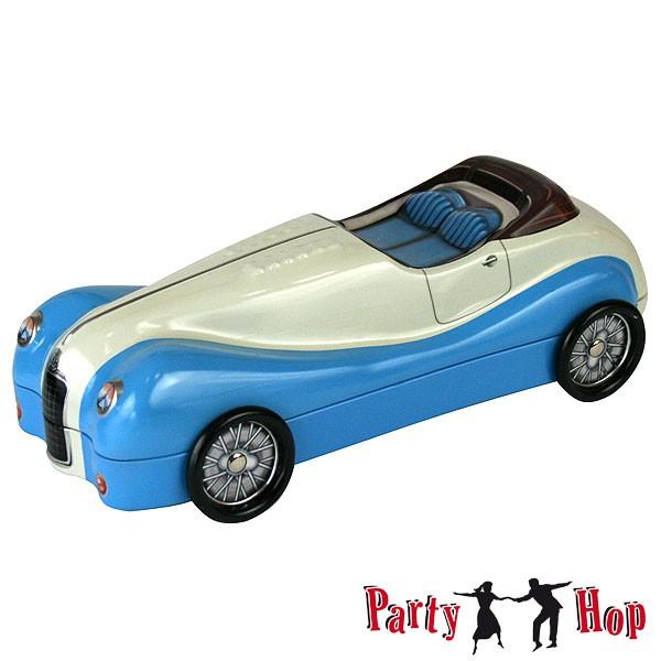 Blechdose Auto Roadster blau-beige