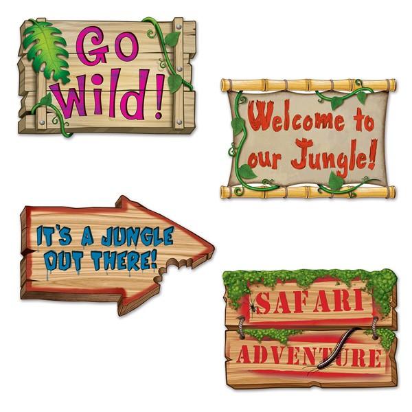 Partydeko Dschungelschilder 4 Stück