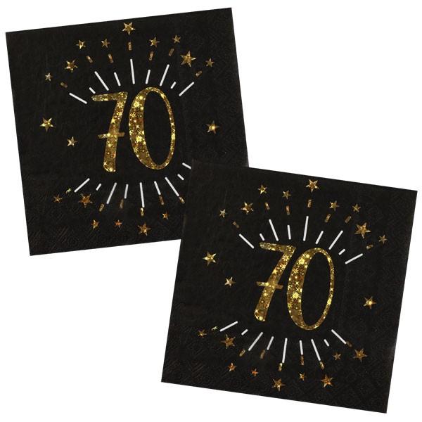 Servietten 70 Geburtstag schwarz gold