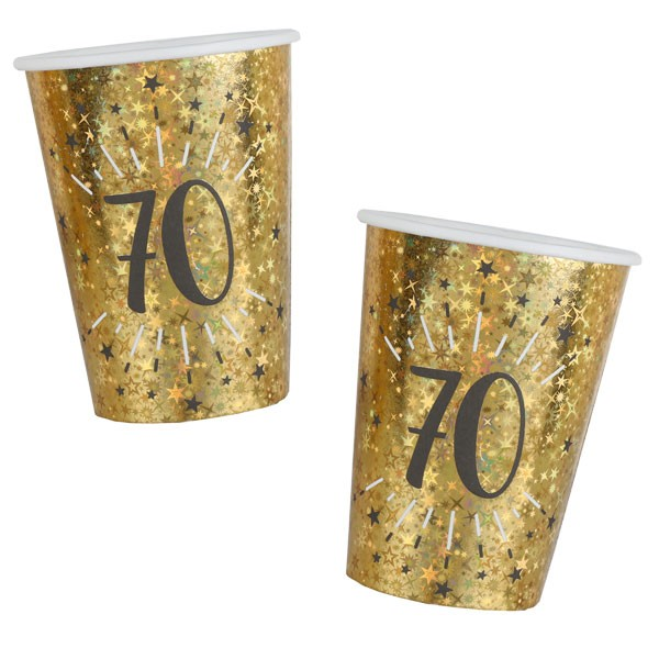 Pappbecher 70 Geburtstag gold schwarz