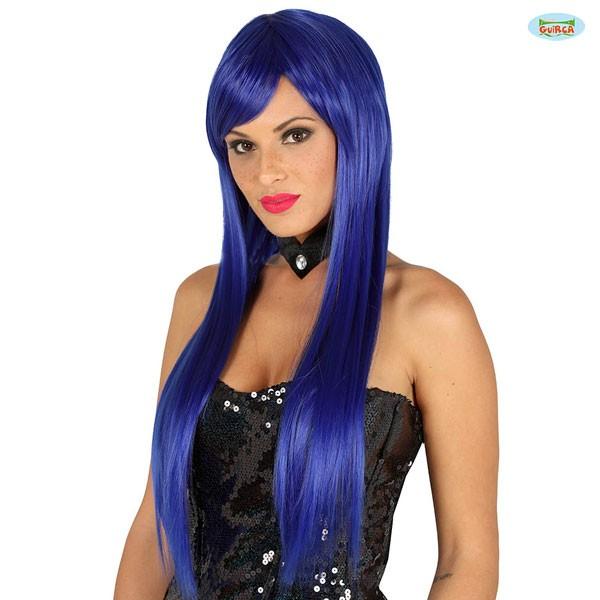 Blaue Damenperücke mit glatten langen Haaren