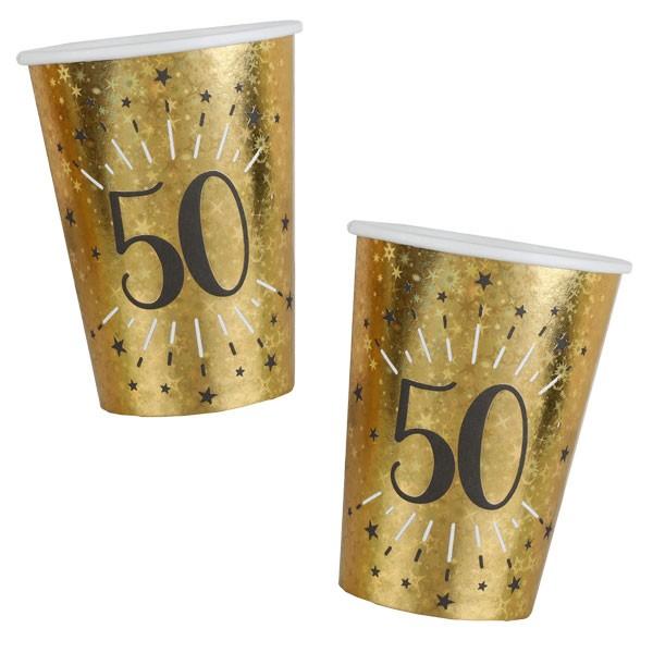 Pappbecher 50 Geburtstag gold schwarz