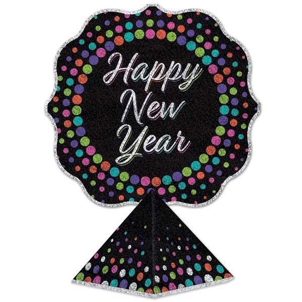 Tischaufsteller Happy New Year Glittereffekt