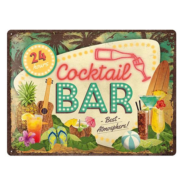 Blechschild Cocktail Bar 30x40 Cm