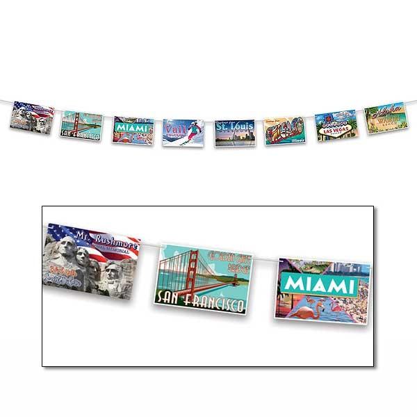 Postkartengirlande USA Party