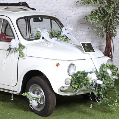 Hochzeitsauto Dekoration Schleifenset Weiss Tullband Brautfahrzeug