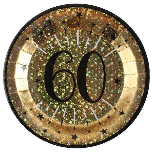 Pappteller 60 Geburtstag gold schwarz
