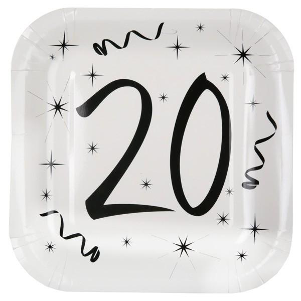 Pappteller 20ster Geburtstag