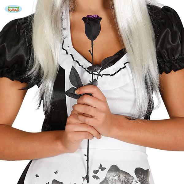 Schwarze Deko-Rose mit Glitter
