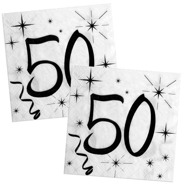 Weiße Partyservietten Mit Schwarzen Aufdruck Für Den 50 Geburtstag