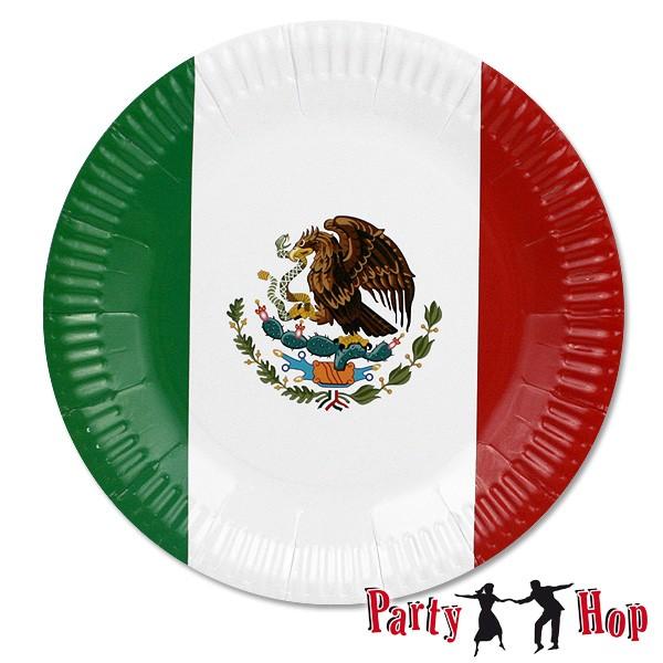 Pappteller mexikanische Fahne
