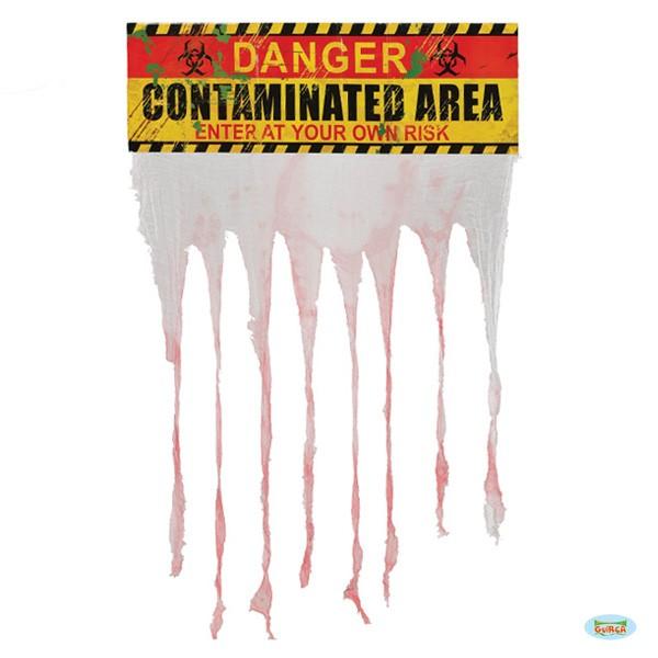 Dekoschild mit Stoff - Danger - Contaminated Area