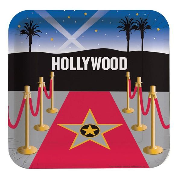 hollywood party eckige pappteller film mottoparty cinema kino partydeko. Black Bedroom Furniture Sets. Home Design Ideas