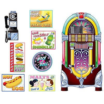 Party-Wanddeko Soda Shop Schilder und Jukebox
