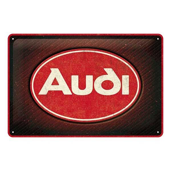 Blechschild Audi Logo Red Shine