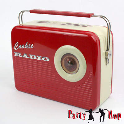 blechdose 50er jahre radio rot deko party rockabilly rock. Black Bedroom Furniture Sets. Home Design Ideas
