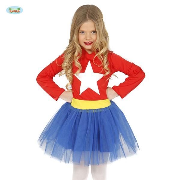 Mädchenkostüm Superheldin Star 10-12 Jahre