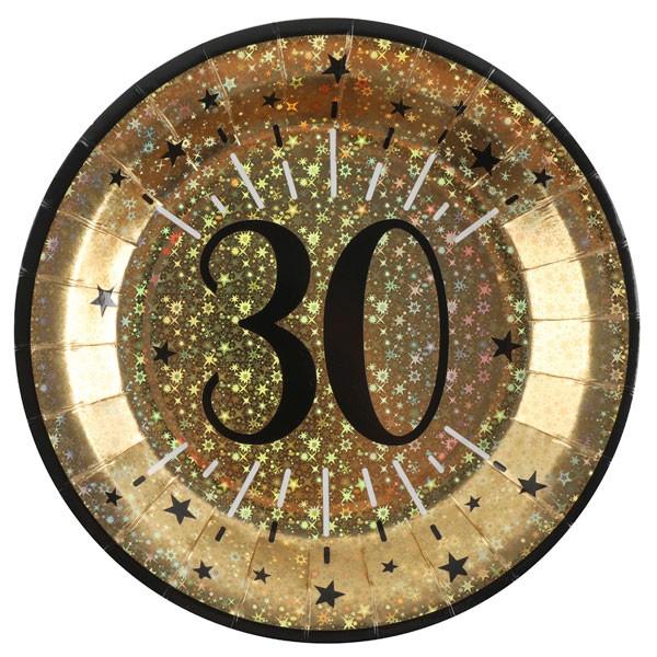 Pappteller 30 Geburtstag gold schwarz