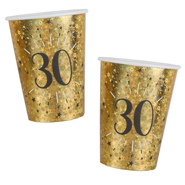 Pappbecher 30 Geburtstag gold schwarz