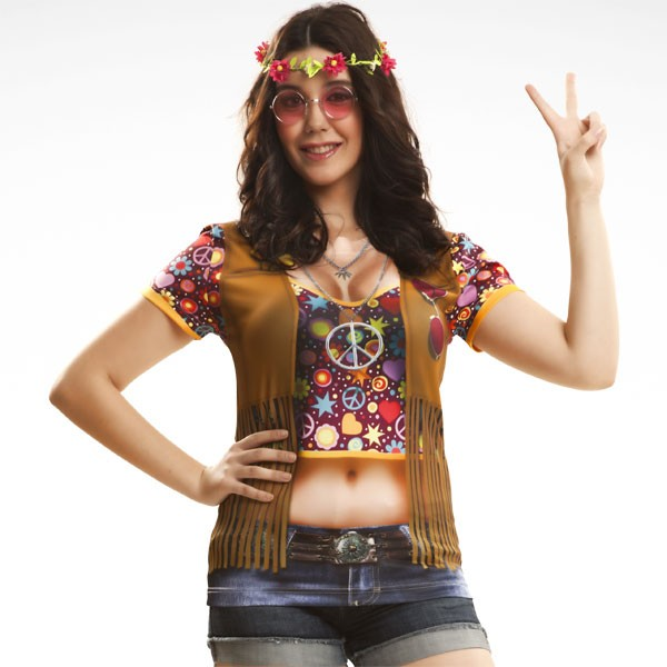 3D Fun-Shirt Hippie Girl M