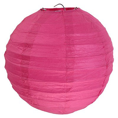 Partydeko großer pinker Papierlampion xl