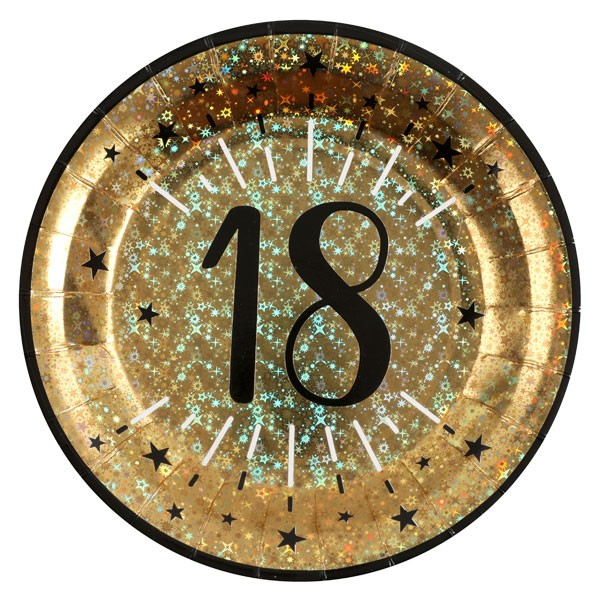 Pappteller 18 Geburtstag gold schwarz