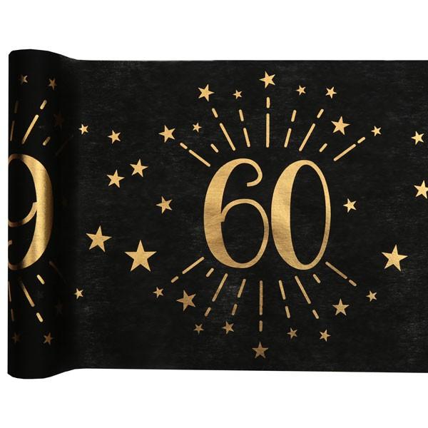 Tischläufer 60 Geburtstag schwarz gold