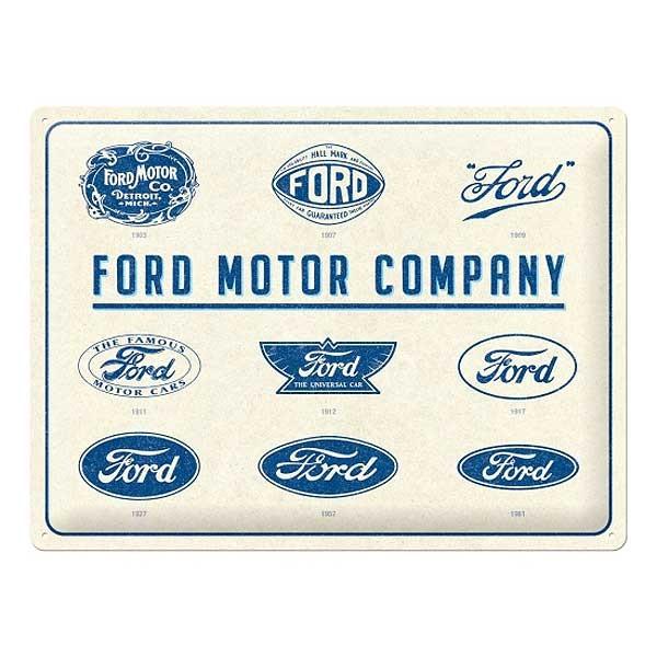 Blechschild Entwicklung Ford Logos