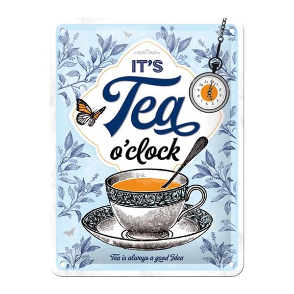 Blechschild Tea o clock 15x20cm