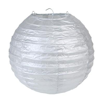 Partydeko Papierlampions L silber