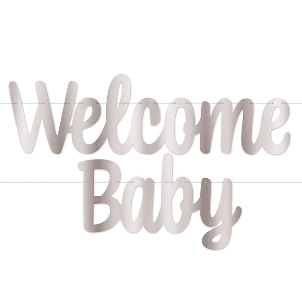Girlande Welcome Baby silber