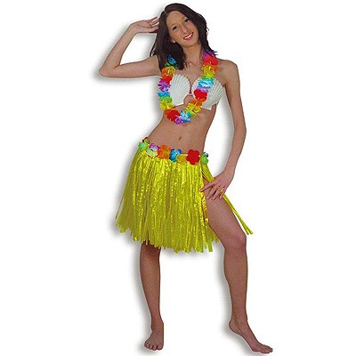 Hawaii-Set Hularock Muschel-BH Blumen-Kette