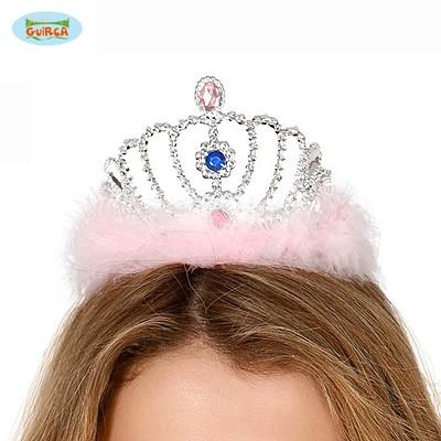 Prinzessinnen Krone Kronchen Rosafarbene Federn Flaum Karneval Party