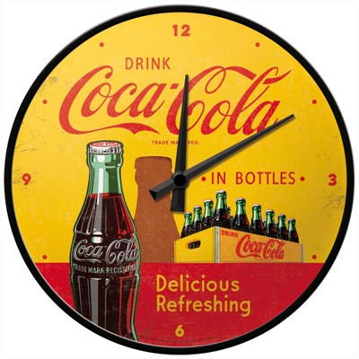 Wanduhr Coca-Cola in Bottles yellow