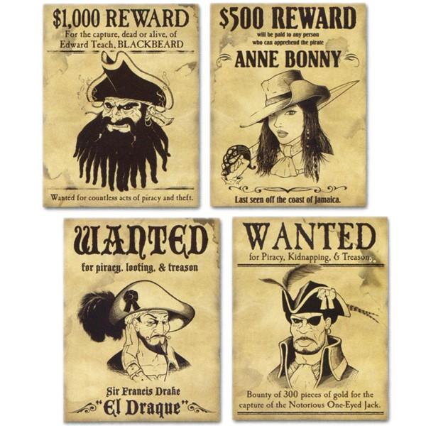 Partydeko Piraten-Steckbriefe