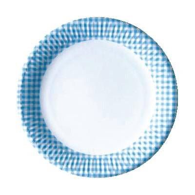 Pappteller blau Karo