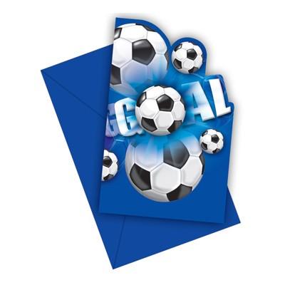Einladungskarten Fußball blau