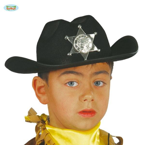 Sheriff-Cowboyhut schwarz Kinder