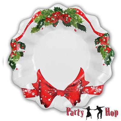 Pappteller Weihnachtsschleife tief