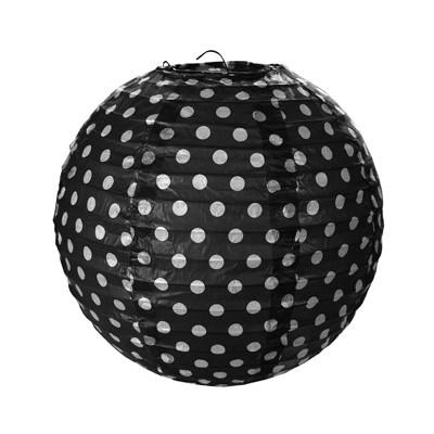 h ngedeko papier lampions schwarz mit wei en punkten party hop. Black Bedroom Furniture Sets. Home Design Ideas