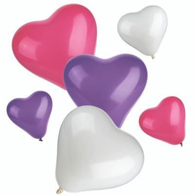 Luftballons Herz pink weiß violett